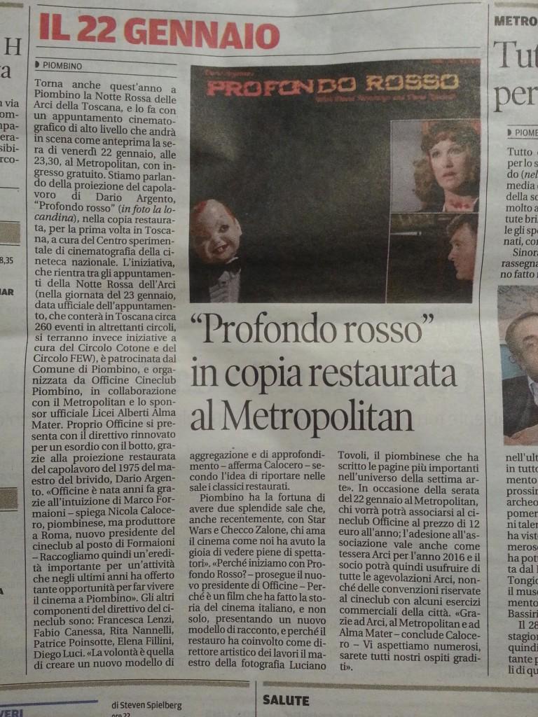 Licei Alberti sposr ufficiale proiezione Profondo Rosso copia restaurata del film a Piombino Metropolitan